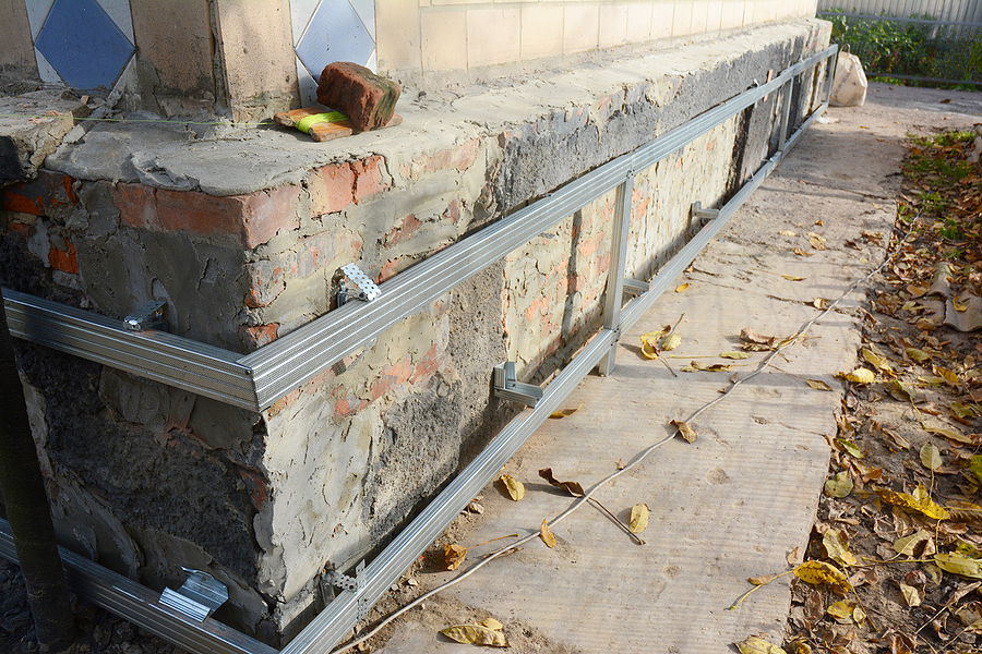 steel brace on the wall for foundation